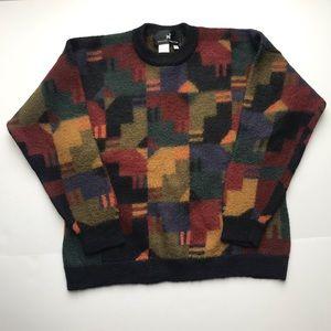 PERUVIAN CONNECTION  100% Alpaca Wool Crew Neck Pullover Sweater Multicolor Sz M
